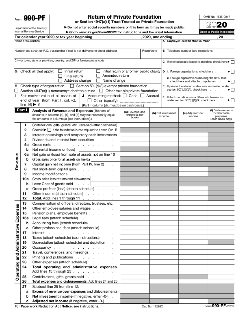 irs form 990-pf 2020