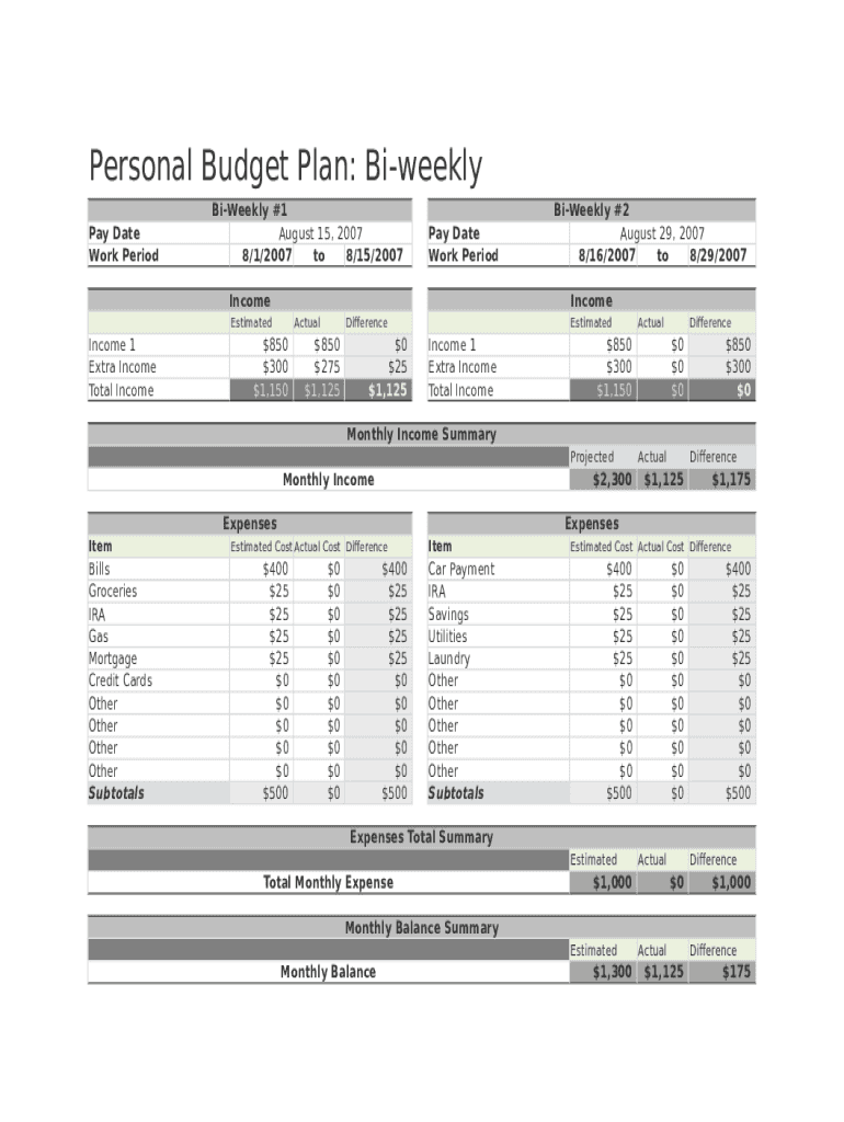 Fillable Online Biweekly Budget Excel Template Fax Email Print Pdffiller