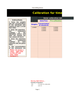 Calibration Drifting Quadratic Weighted Template - My Excel Templates