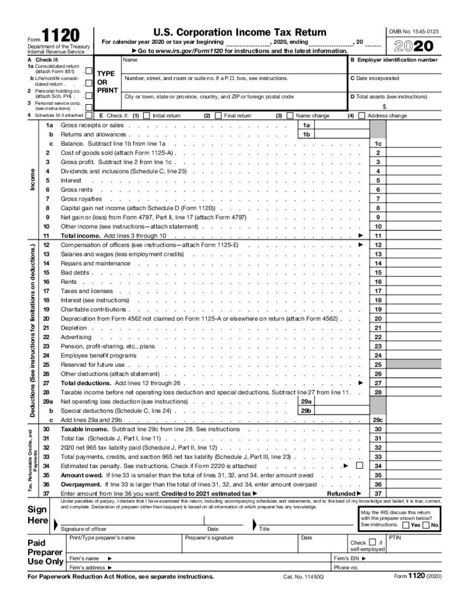 Form 1120 Online
