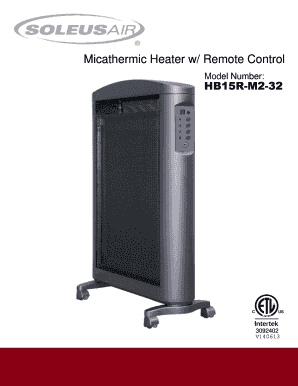 Fillable Online Soleus Air Hb15 M2 32 Heater Manual