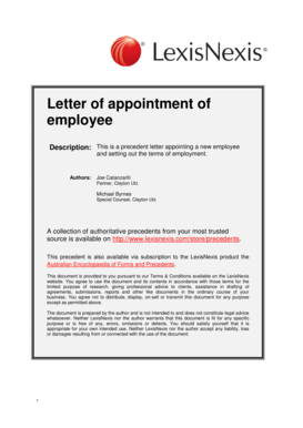 Letter of appointment of employee - LexisNexis - lexisnexis com