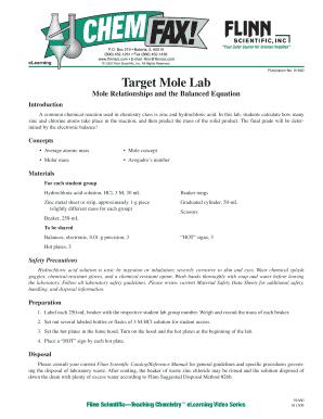 Fillable Online 91660 Target Mole Lab - Flinn Scientific