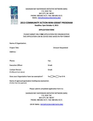 B2013b community action mini-grant program - Saginaw Bay bb