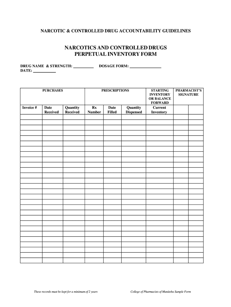 Schedule 2 Perpetual Inventory Form Fill Online Printable