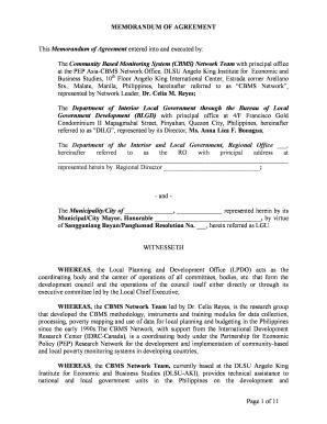 Fillable Memorandum Of Agreement Sample Business Partnership