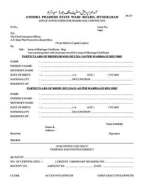 Nikahnama format in india fill online printable fillable waqf board nampally marraige certificate form yadclub Images