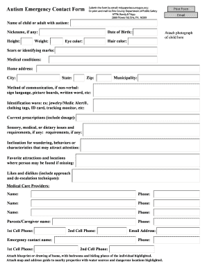 Fillable Online ecdops Autism Emergency Contact Form - Erie County ...