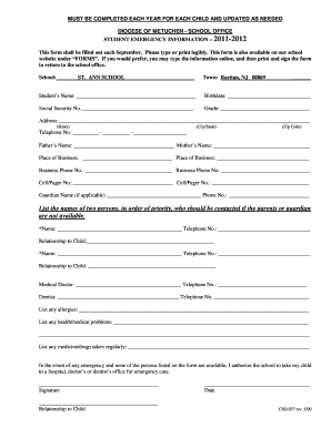 Student Emergency Form.doc