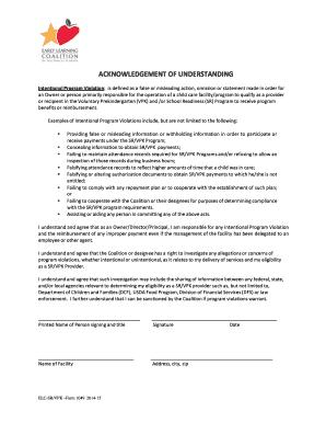 Acknowledgement of Understanding SR 2014-2015