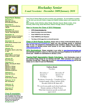Hockaday Senior E-mail Newsletter: December 2009/January 2010 Important Dates: December 8 Your Form IV Parent Reps are here to answer your questions - hockaday