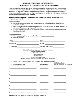 Recommendation Form - Hinsdale Central High School