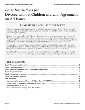 Form Instructions for Divorce without Children and with Agreement ... - in