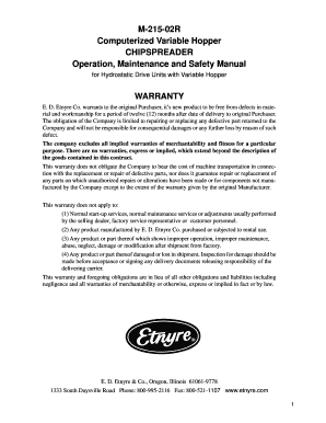 M-215-02R Computerized Variable Hopper CHIPSPREADER Operation, Maintenance and Safety Manual for Hydrostatic Drive Units with Variable Hopper WARRANTY E