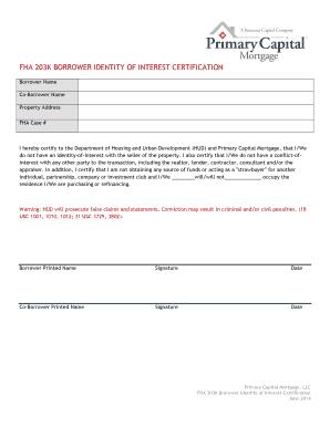 Fillable Online FHA 203K BORROWER IDENTITY OF INTEREST ...