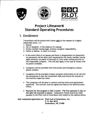 Fillable Online pilotclubgreensboro Project Lifesaver