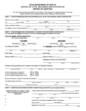 utah report adoption form