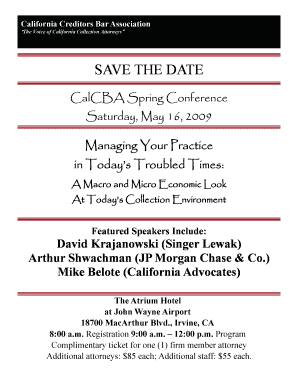 SAVE THE DATE - California Creditors Bar Association