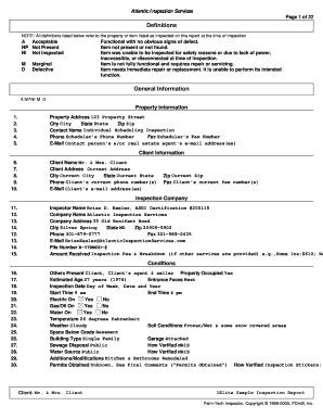 Home Inspection Report Pdf Definitions General Information