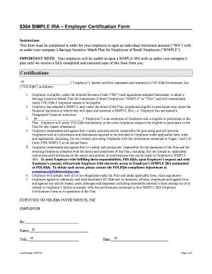 Fillable Online 5304 SIMPLE IRA Employer Certification Form Fax ...
