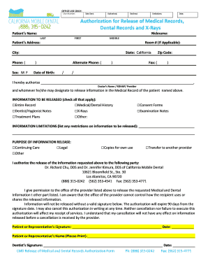 5) Record Release Authorization Form - California Mobile Dental