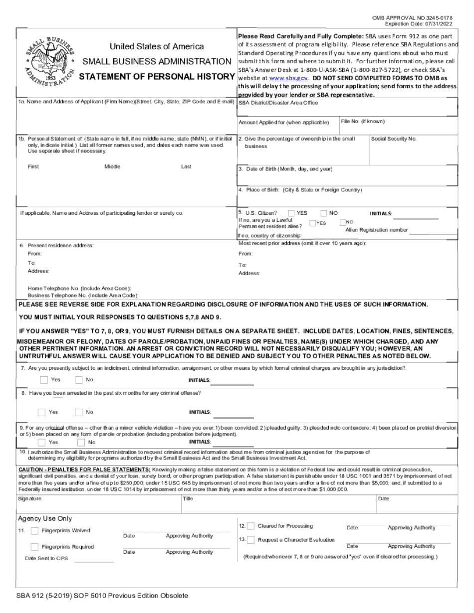 SBA Form 912