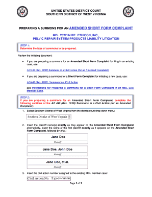 Fillable Online wvsd uscourts AMENDED D SHORT T FORM C