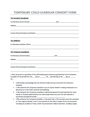 image regarding Printable Temporary Guardianship Forms identify Printable 10 Short term Guardianship Kind Samples - Edit