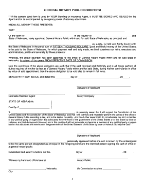 general notary public bond form nebraska