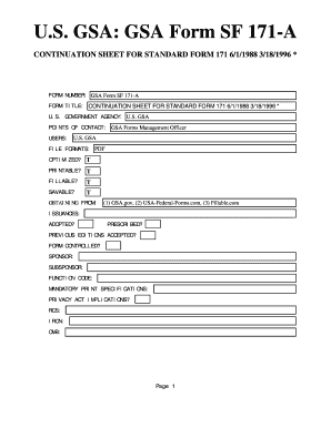 Fillable Online GSA Form SF 171-A. CONTINUATION SHEET FOR STANDARD ...