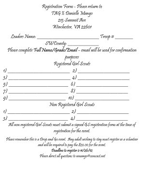 Registration Form - Please return to TAG % Danielle Mango 213 ... - gscnc