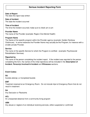 Serious incident report example fill print download for Serious incident report template