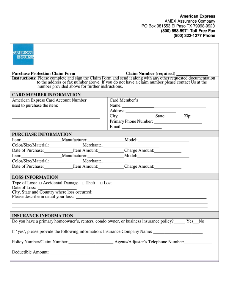 American Express 800 Number >> Fillable Online Purchase Protection Claim Form Claim Number