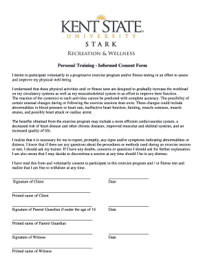 Fitness Testing Informed Consent Form - Fill Online, Printable ...