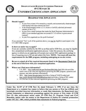 DISADVANTAGED BUSINESS ENTERPRISE PROGRAM 49 CFR PART 26