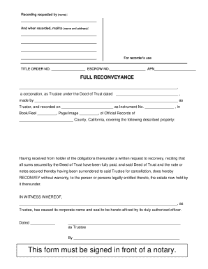 Fillable Online saclaw Form: Deed of Full Reconveyance ...