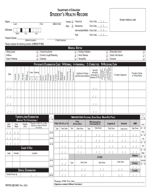 student health record format fill online printable fillable