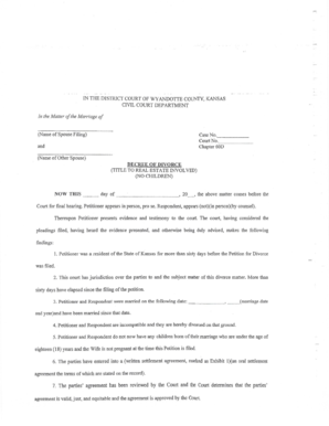 Bill Of Sale Form Kansas Petition For Divorce With Children