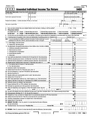 Fillable Online ftb ca Form 540X, 2002 Amended Individual Income ...