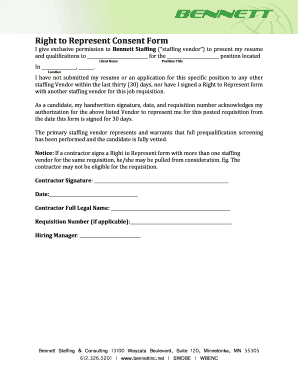 Fillable Online bennettinc Right to Represent Consent Form Fax ...