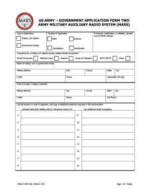 AR MARS Form 2 - QSL net Fill Online, Printable, Fillable