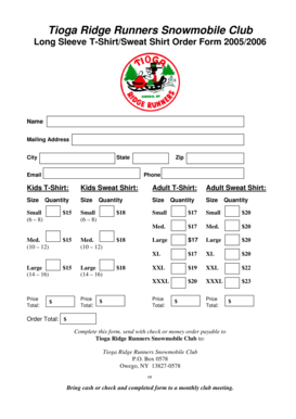 Fillable Online Trrsc T Shirt Order Form Doc Xi An Beilin