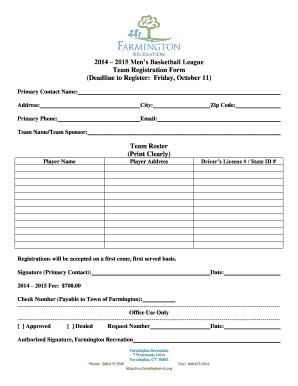 Mens Basketball League Registration Form - Fill Online