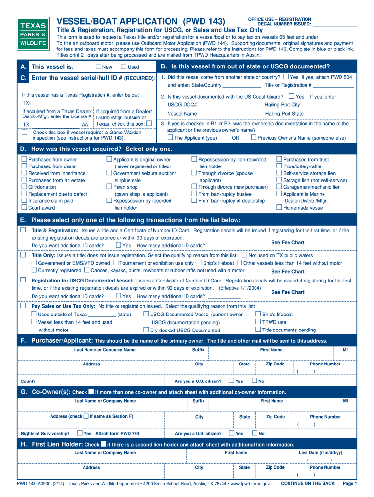 Form Pwd 143 Texas Parks And Wildlife - Fill Online, Printable