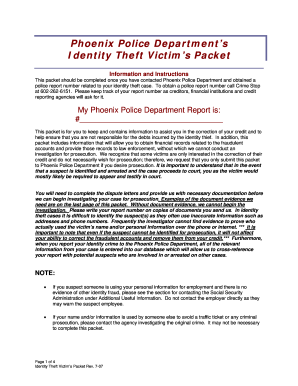 Phoenix Police Identity Theft Packet Form