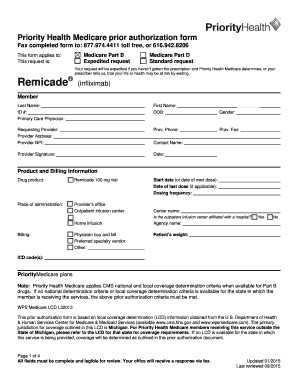 Fillable Online Prior authorization form for Remicade. Priror ...