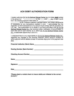 Fillable Online ACH DEBIT AUTHORIZATION FORM Fax Email Print ...
