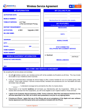 AT&T Wireless Service Agreement Printable Only - Sandhill ...