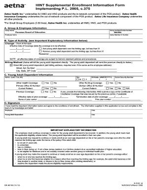 Aetna Du31 Enrollment Form - Fill Online, Printable, Fillable ...