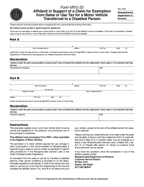 Form MVU-33. Affidavit in Support of a claim for Exemption from Sales for a Vehicle Transferred to a Disabled Person